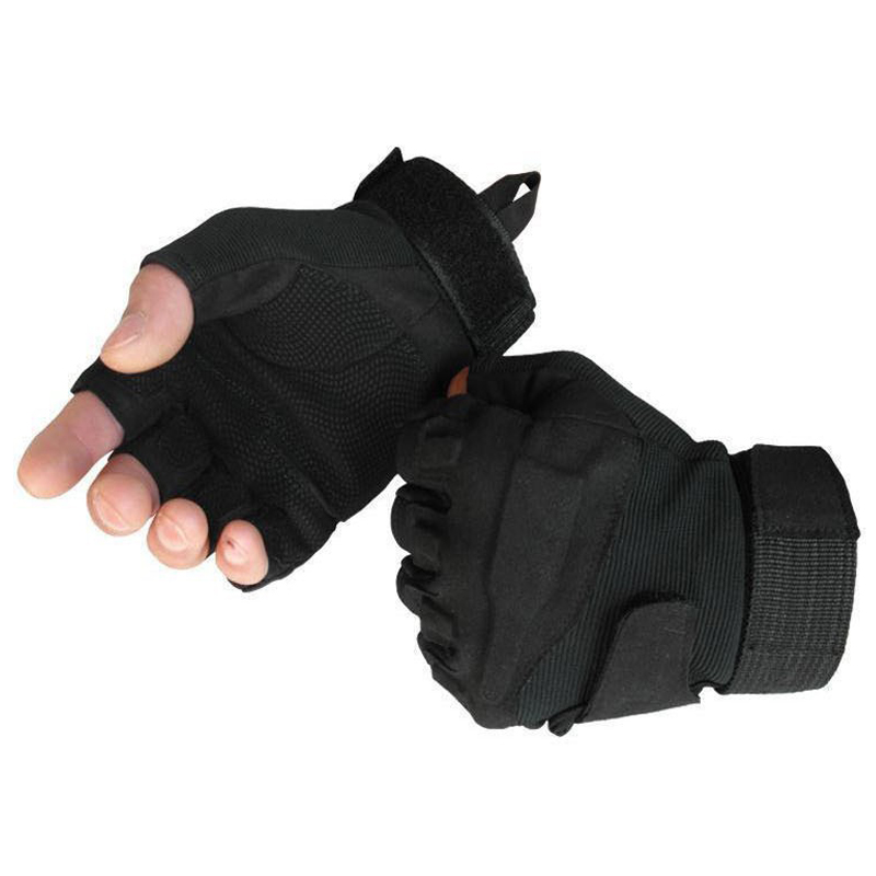 Black Half Finger Shooting Gloves